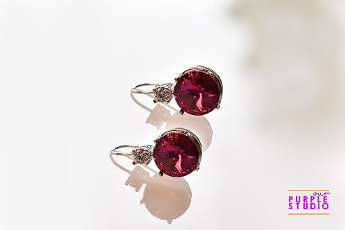 Light Wear Earring with Dark Pink Colour Semi Precious Stone Drop