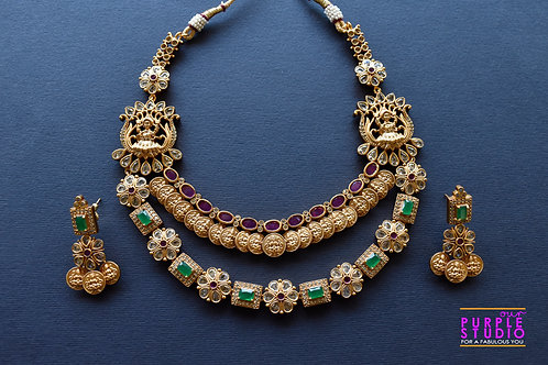 Gorgeous Golden Temple Necklace Set with Pink and Green Kemp Stones