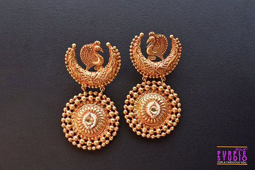 Charming  Golden Danglers with beautiful Peacock on Top