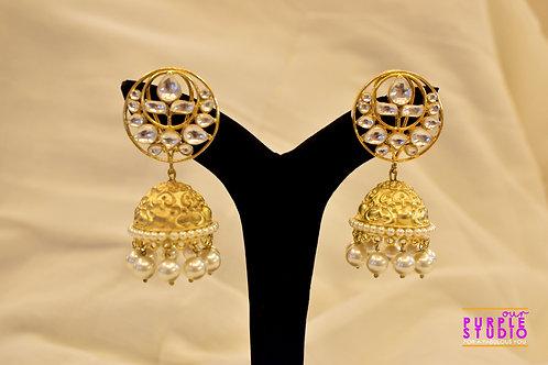 Golden Kundan Jhumka