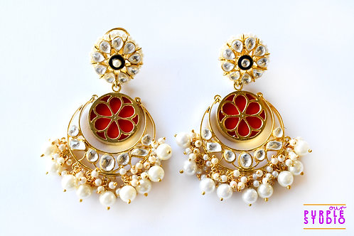 Dazzling Chand Bali in Red with Kundan and Pearl