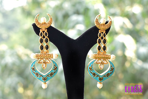 Blue Enamel Painted Earring in Golden and Black