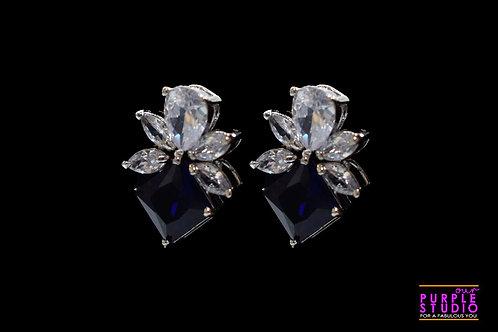 Square Blue CZ leaf Stud Earring