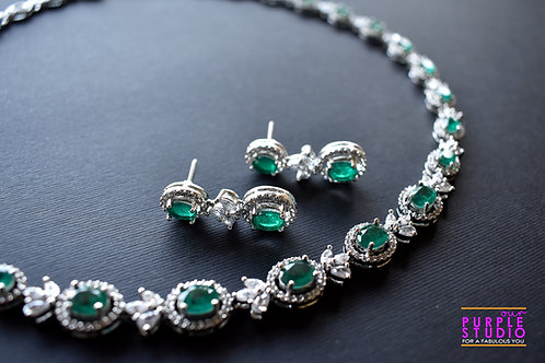 Sophisticated Indo Western Necklace Set with White and Green CZ Stones