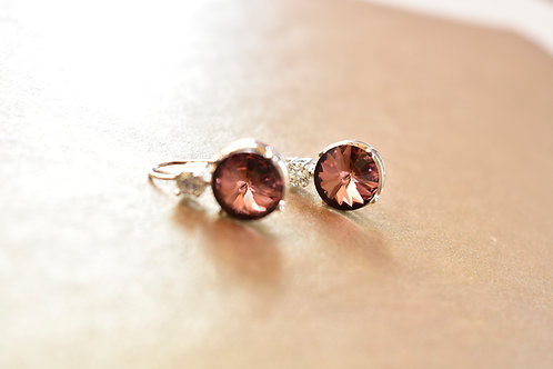 Light Wear Earring with Wine Color Swarovski Drop