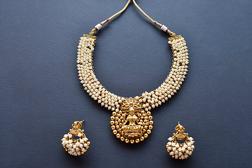 Gorgeous Golden Temple Necklace Set adorned with Pearl