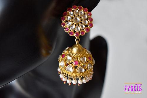 Golden Floral Kundan Jhumka with Pearl Drop