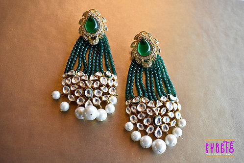 Gorgeous Green Tassel Earring with Kundan
