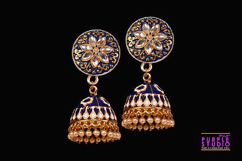 Trendy Blue Meenakari Jhumka with Kundan and Pearls