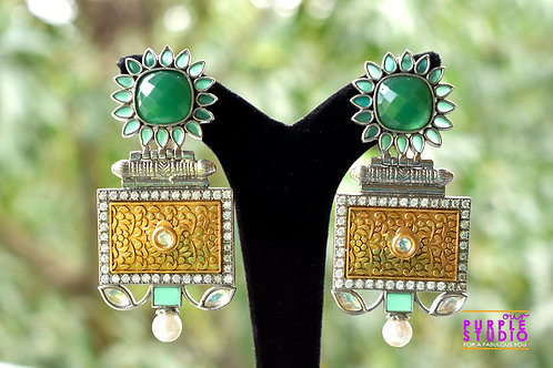 Statement  Antique Earrings with Green Sun Flower