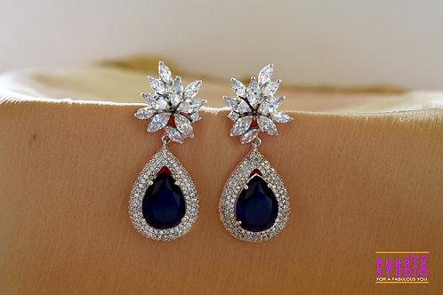 Sparkling Floral Blue Onyx Danglers