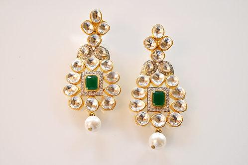 Emerald Green Kundan Jadau Earring