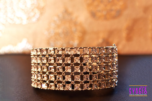Designer Broad Bracelet in Pure White AD Stones