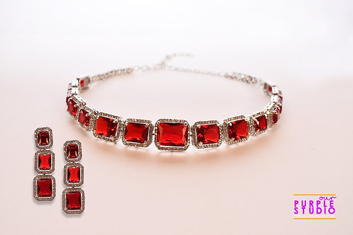 Graceful Red Onyx and CZ Setting Necklace Set