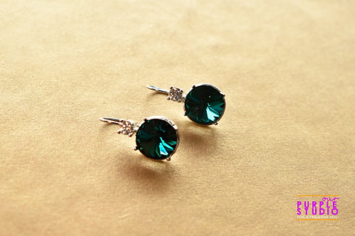 Light Wear Earring with Turquoise Colour Semi Precious Stone Drop
