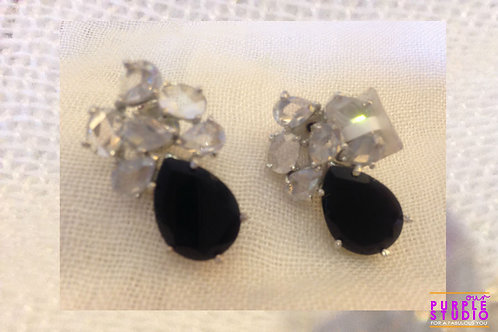 Gorgeous Stud in Black and white Onyx Stone
