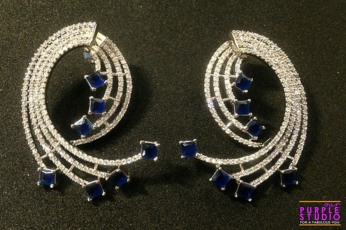 Dazzling Blue Stone Fusion Earring
