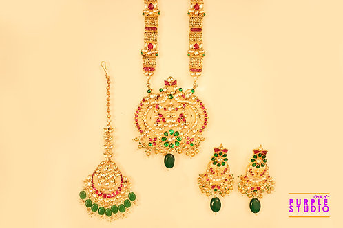 Captivating Ruby and Emerald Kundan Necklace Set