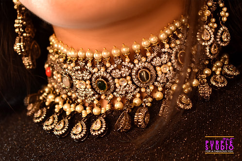 Designer Antique Royal Choker  Set in Kundan and Pearl