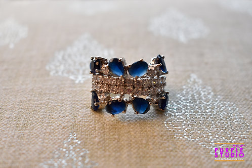 Smart Blue and White AD Stone Ring