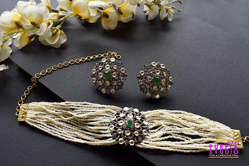 Captivating Antique Kundan and  White Beads Choker Set
