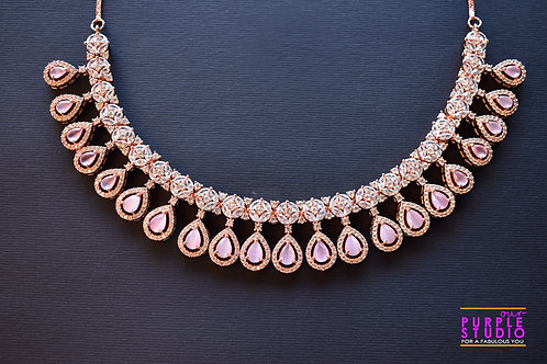 Sophisticated  Necklace Set with White and Pink CZ Stones in Rose Gold
