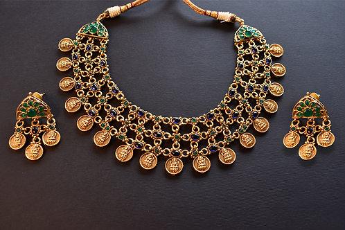 Multi Layered Lakshmi Ji Necklace set with blue and green beads