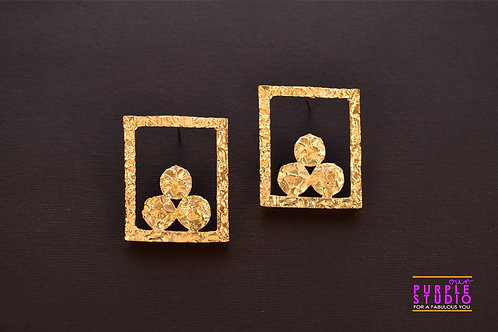 Fusion Golden Hollow Rectangle Danglers  with circular designs