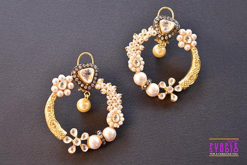 Golden Moon Charm Earring in Kundan and Pearl