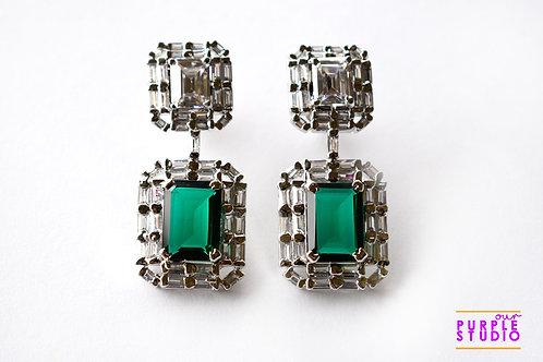 Elegant Danglers in Green and White CZ Stone