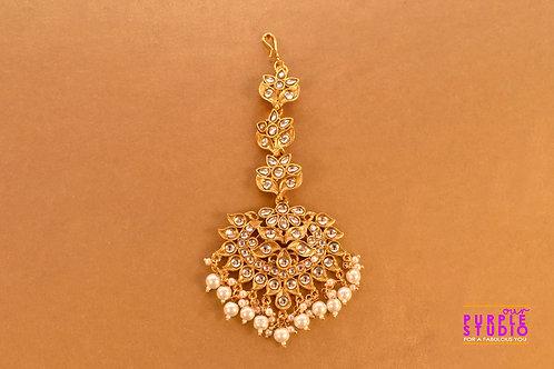 Beautiful Golden Maangtikka with Pearl Drop