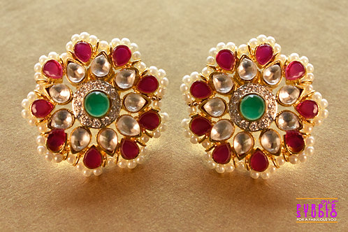Graceful Pink Ethnic Studs in Rich Kundan and Pearl Setting