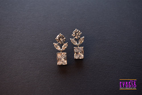 Smart CZ Floral Earring with petals
