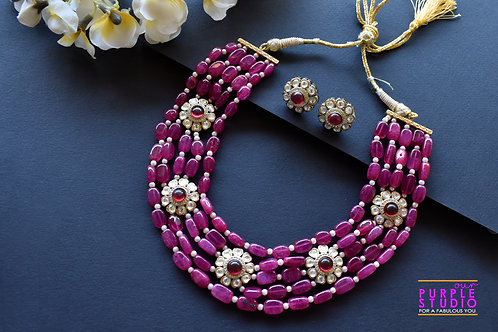 Contemporary Ruby Necklace Set with Kundan Motifs