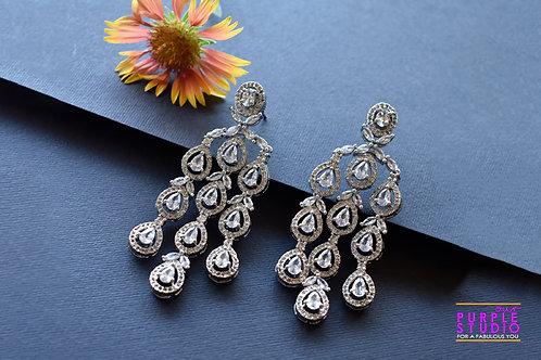 Party Wear Chandelier Earrings in Rich CZ Stones