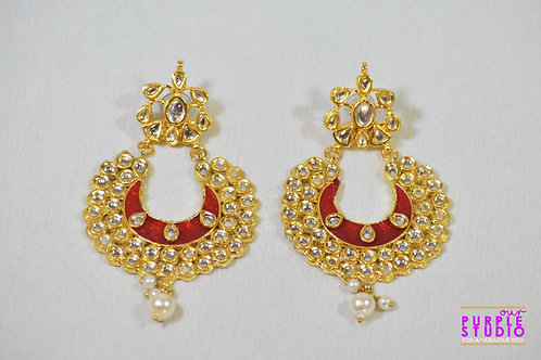 Red Chand Bali in Kundan with Pearl Drop