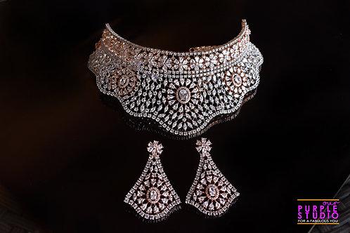 Divine Rose Gold Indo Western Choker Set in CZ Stones