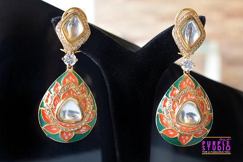 Hand Painted Kundan Earring
