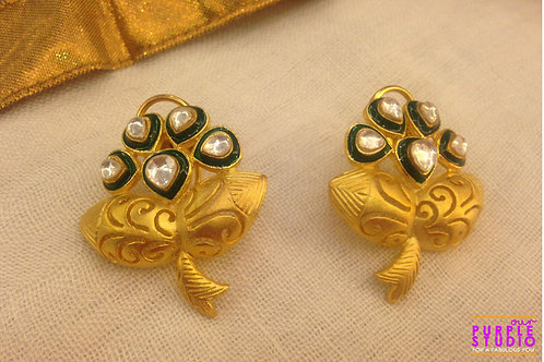 Golden Studs in Green Kundan