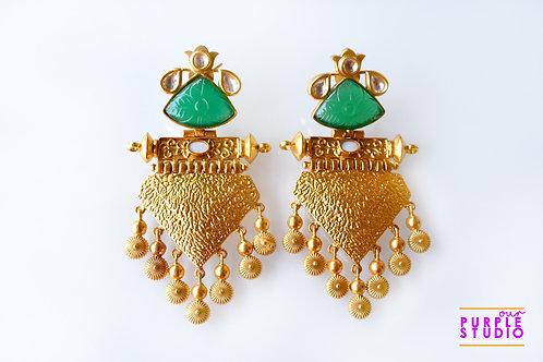 Exquisite Golden Ball Drop Earring in Green