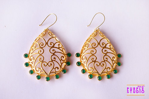 Designer Gold Earring with Green Onyx Stone