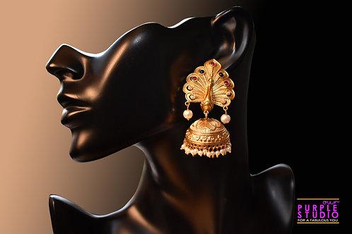 Exquisite Golden Peacock Jhumka