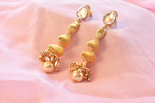 Party Wear Long Golden Spiral Earrings