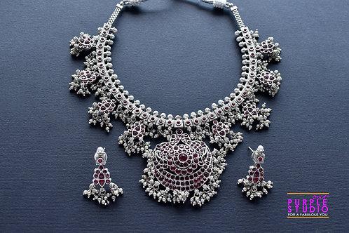 Guttapusalu Oxidised Silver  Necklace Set