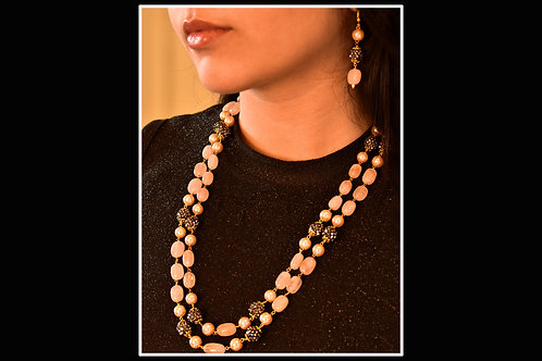 Contemporary Beaded Necklace in Pink and Black Semi Precious Beads