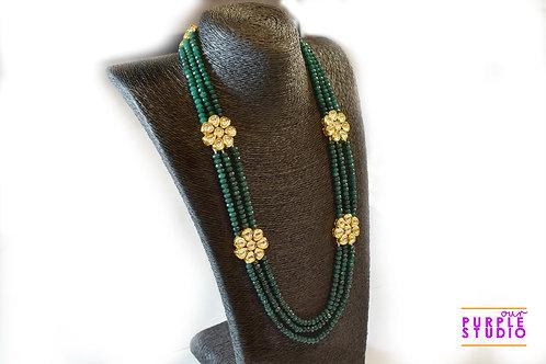 Gorgeous Green Beaded Kundan Necklace Set