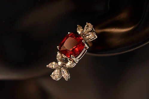 Beautiful CZ Earring in White and Red CZ stone