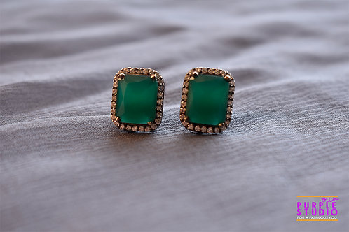 Smart  Square Shaped Green AD Stud