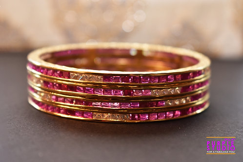 Beautiful Pink and Golden AD Bangles