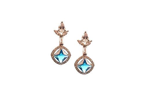 Ascetic Aqua Blue AD Earring in Silver Polish
